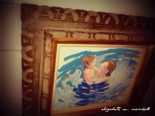 mother child painting two