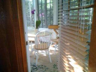 orchid and sun through door slats